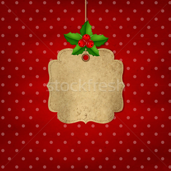 Red Xmas Label With Holly Berry Stock photo © cammep