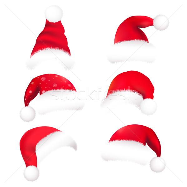 サンタクロース 帽子 孤立した 白 デザイン 背景 ストックフォト © cammep
