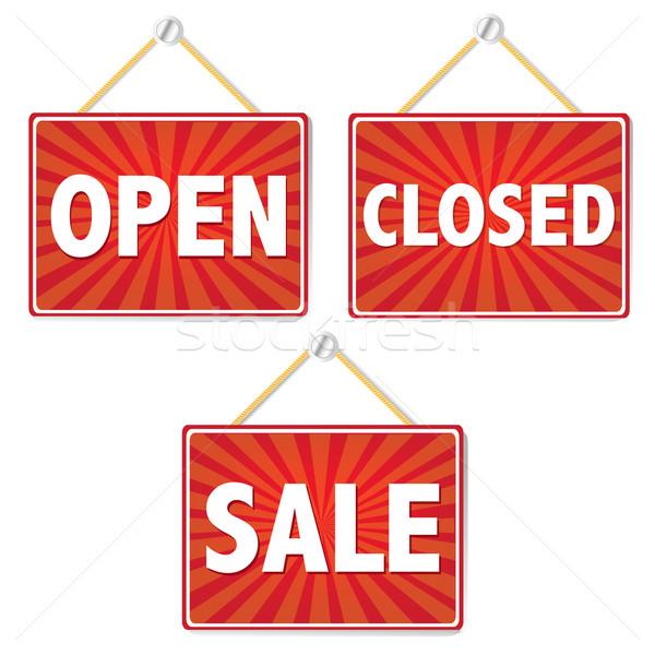 Abierto cerrado signos negocios diseno arte Foto stock © cammep