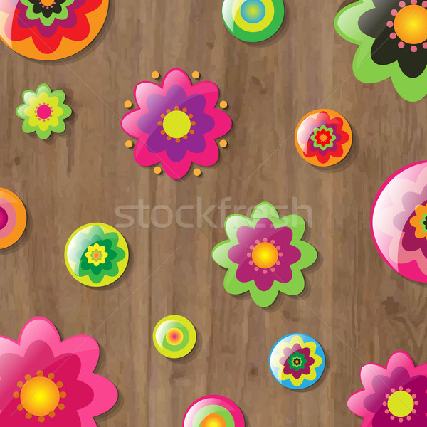 Wooden Background With Flowers Stock photo © cammep
