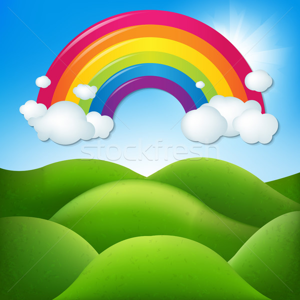 幻想的な 風景 虹 勾配 空 ストックフォト © cammep