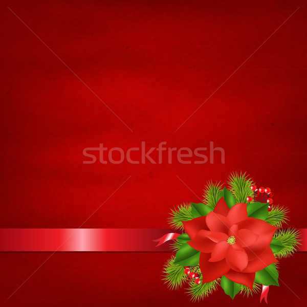 Red Background With Poinsettia And Ribbons Stock photo © cammep