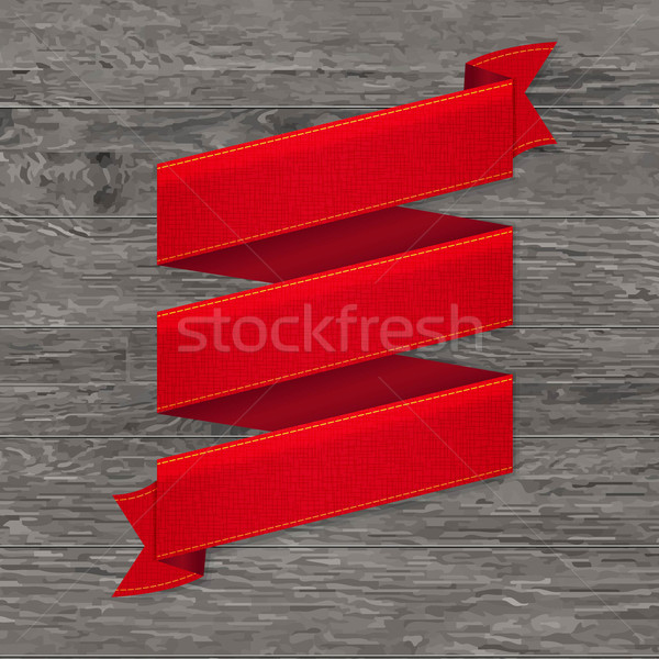 Grey Wood Board With Red Ribbon Stock photo © cammep