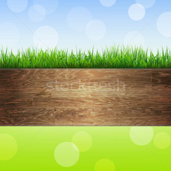 Wooden Background With Grass Stock photo © cammep