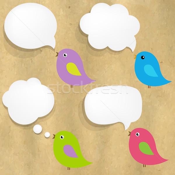 Cartão estrutura branco papel balão de fala aves Foto stock © cammep