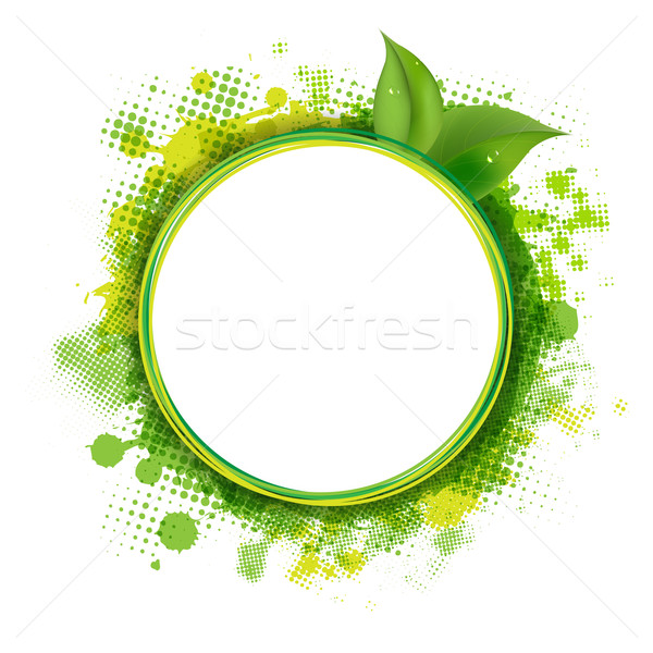 Speech Bubble With Green Blob And Leaves Stock photo © cammep