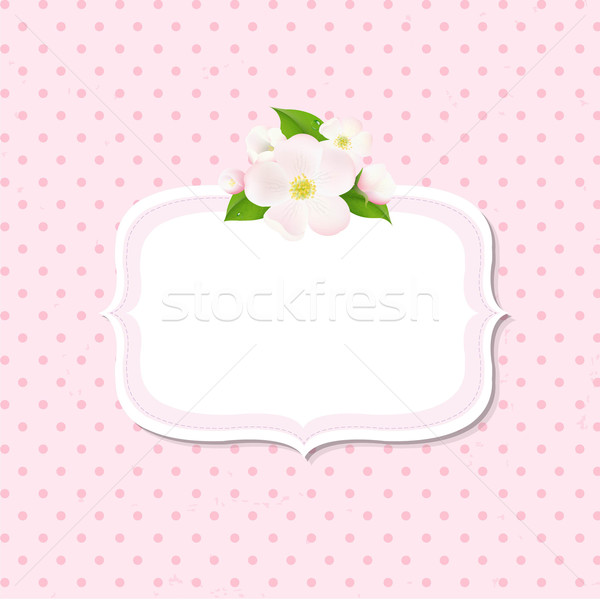 Apple Tree Flowers Background With Label Stock photo © cammep