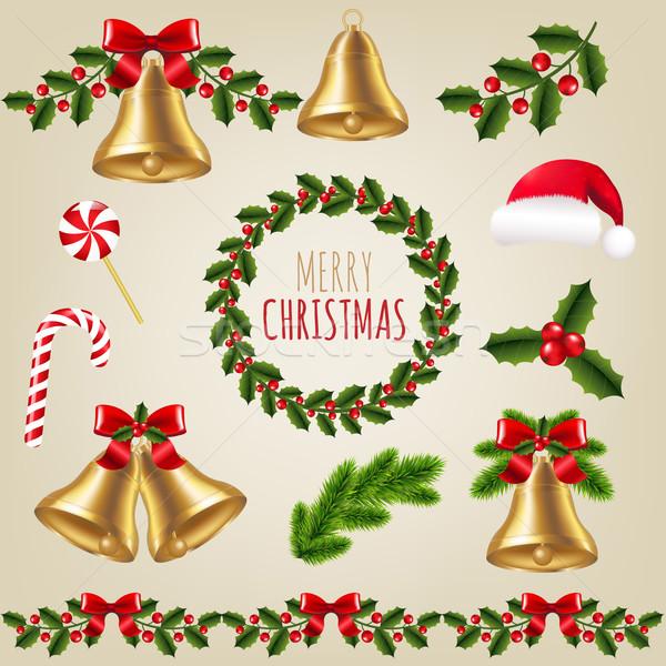 Grande Navidad establecer gradiente madera Foto stock © cammep