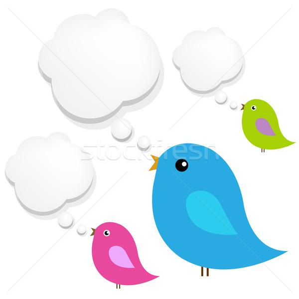 Stok fotoğraf: Kuşlar · bulut · konuşma · balonu · komik · kart · hayvan