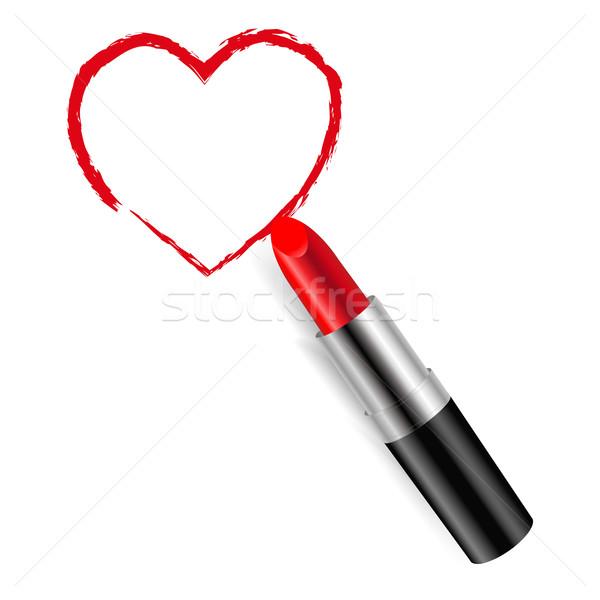 Vörös rúzs gradiens háló divat szív szépség Stock fotó © cammep