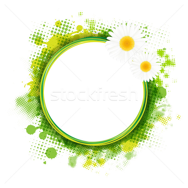 Stock photo: Speech Bubble With Green Blob And Camomiles