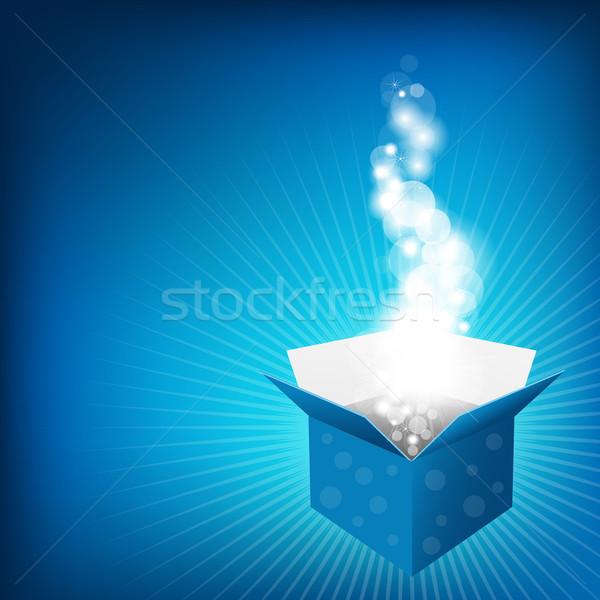 Blue Box And Sunburst Stock photo © cammep