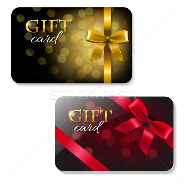 Farbe Geschenkkarte Set Gradienten Mesh Papier Stock foto © cammep