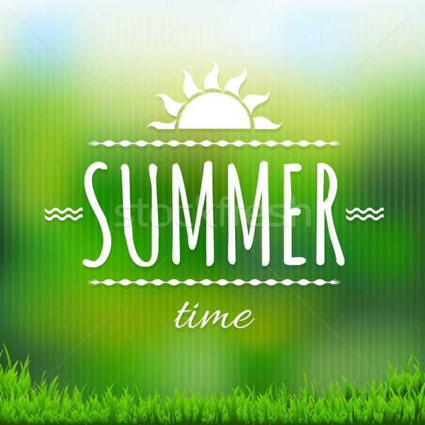 Summer Time Banner With Grass Stock photo © cammep