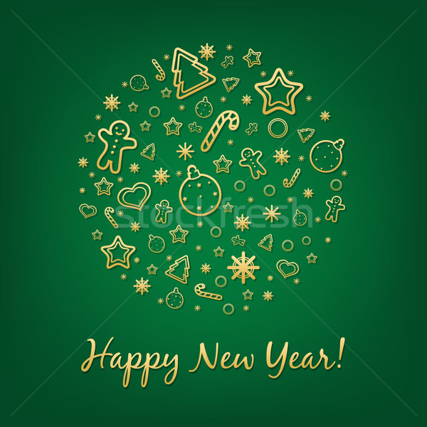 Vert happy new year carte gradient papier Photo stock © cammep
