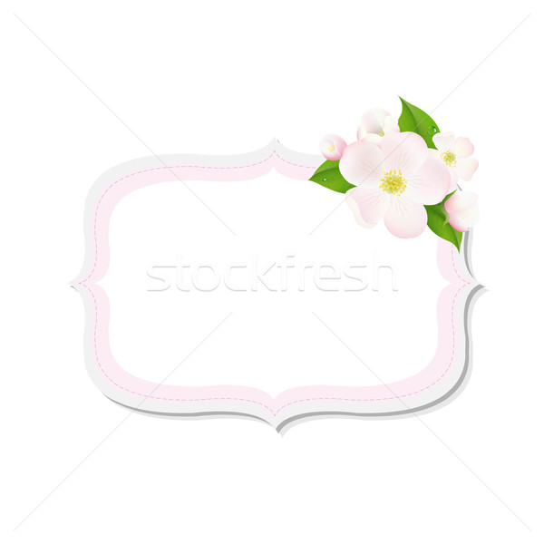 Apple Tree Flowers With Label Stock photo © cammep