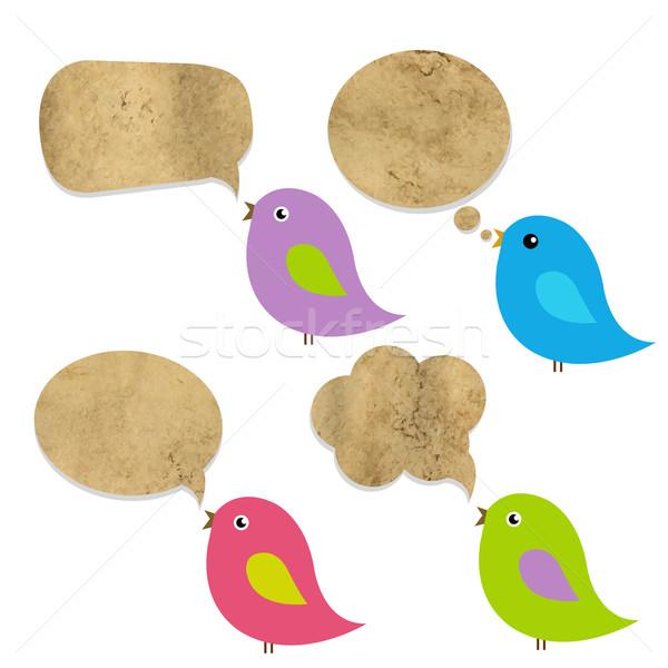 Stock foto: Altpapier · Sprechblase · Vögel · Wolke · funny · Karte