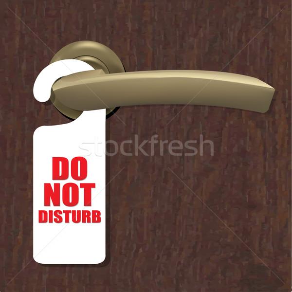 Do Not Disturb Sign With Door Handle And Wooden Background Stock photo © cammep