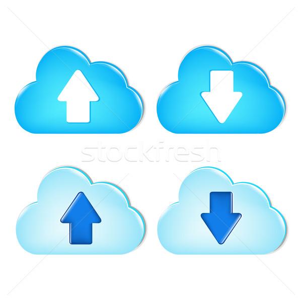 Duży zestaw chmury gradient Zdjęcia stock © cammep