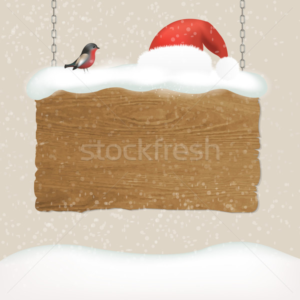 Wooden Sign With Snow And Bird Stock photo © cammep