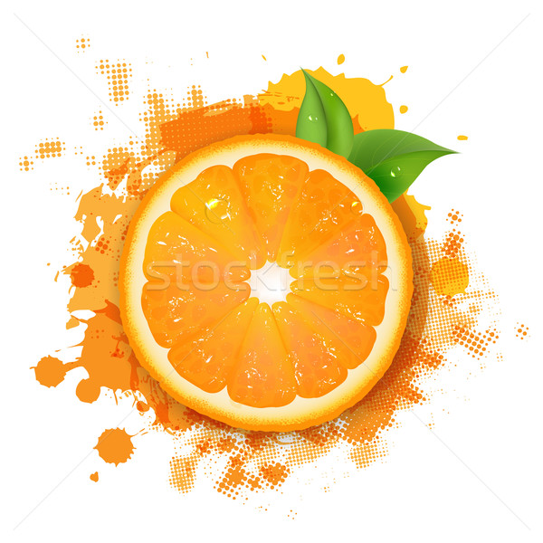 Orange With Orange Blob And Green Leaves Stock photo © cammep