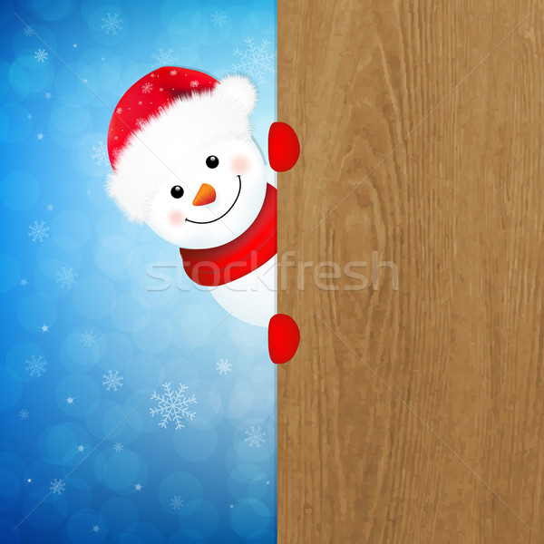 Xmas Snowman With Wood Banner Stock photo © cammep
