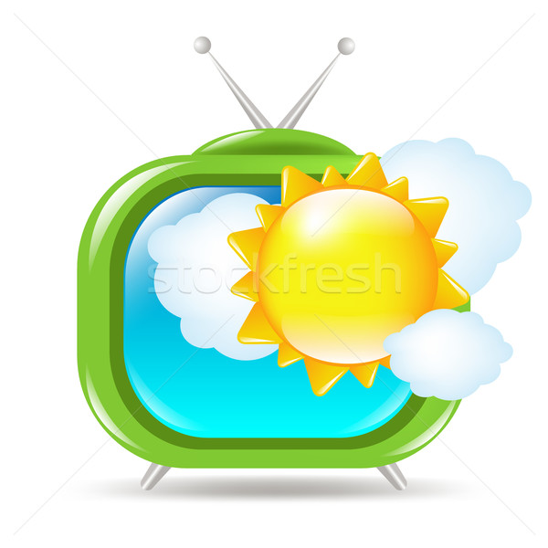 Retro Tv Set With Sun And Clouds Stock photo © cammep