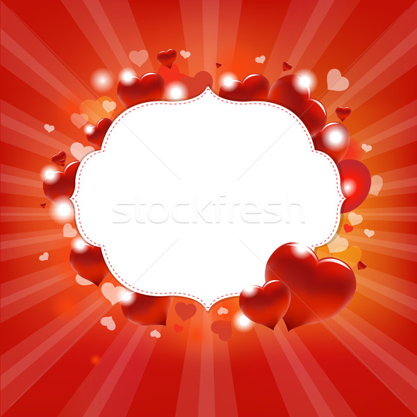 Miłości vintage karty serca ramki czerwony Zdjęcia stock © cammep