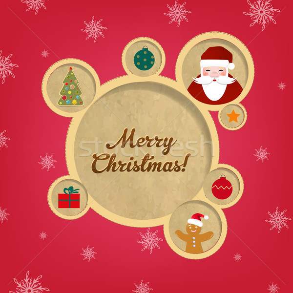 Retro Christmas Web Design Bubbles And Santa Claus Stock photo © cammep