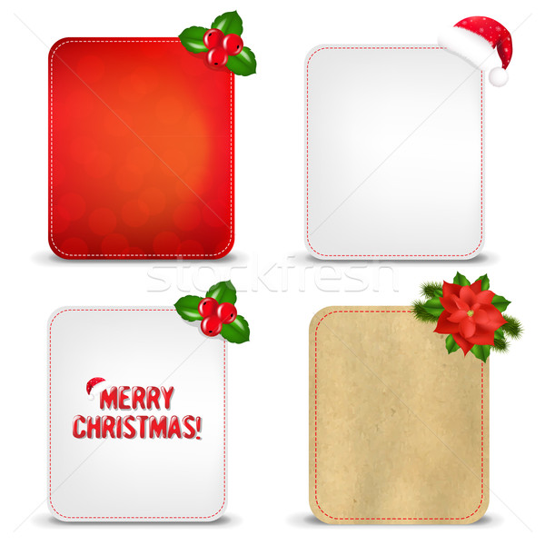 ストックフォト: クリスマス · バナー · セット · ベリー · 勾配