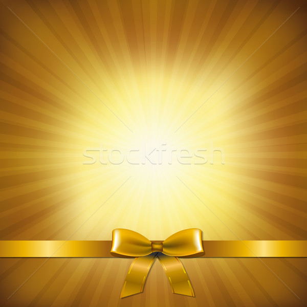 Golden Sunburst With Golden Ribbon And Bow Stock photo © cammep