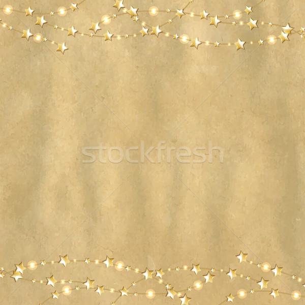 Bağbozumu karton altın Yıldız eğim Stok fotoğraf © cammep