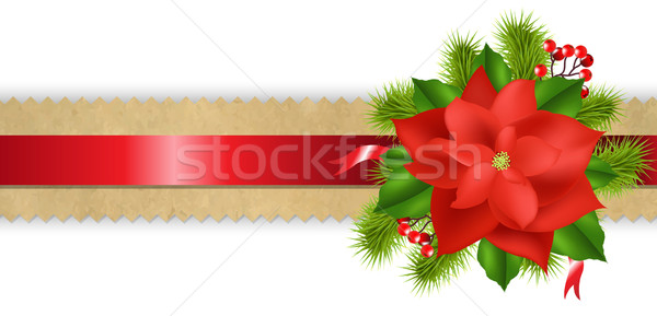 Old Paper Divider With Red Ribbon Poinsettia Stock photo © cammep
