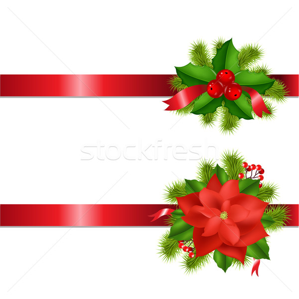 Stock photo: Winter Flower And Berry With Ribbons