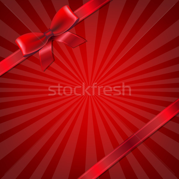 Sunburst With Red Ribbon And Bow Stock photo © cammep