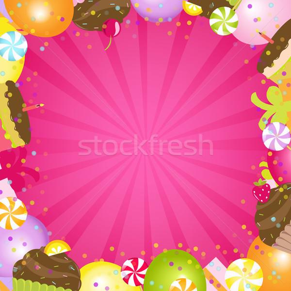 Születésnap szín keret buli boldog absztrakt Stock fotó © cammep