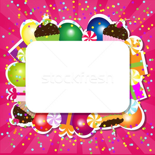 Cumpleanos color tarjeta papel fiesta nieve Foto stock © cammep