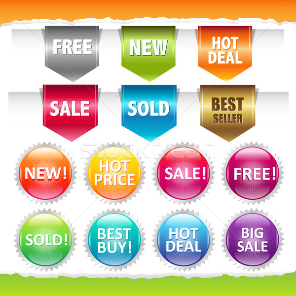 Sold Stickers And Ribbons Stock photo © cammep