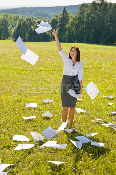 Businesswoman sunny meadow throw papers freedom Stock photo © CandyboxPhoto