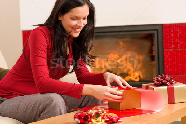 Karácsony csomagolás ajándék boldog nő otthon Stock fotó © CandyboxPhoto