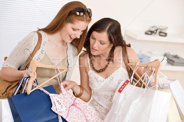 Stock fotó: Divat · vásárlás · kettő · boldog · nő · választ