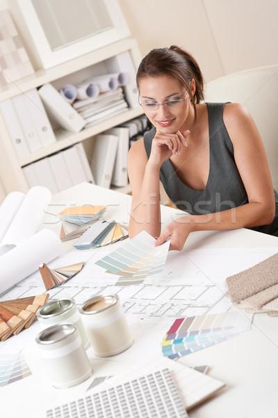 Női belsőépítész dolgozik szín iroda választ Stock fotó © CandyboxPhoto