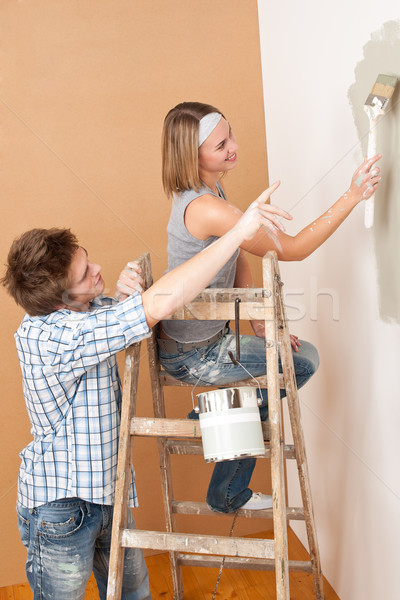 Mejoras para el hogar pintura pared pincel casa Foto stock © CandyboxPhoto