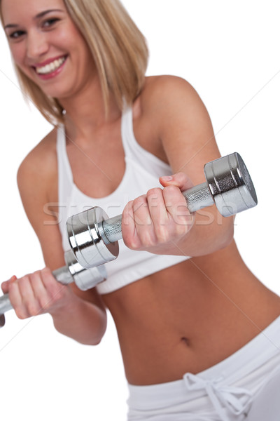 Fitness series - Blond woman with weights Stock photo © CandyboxPhoto