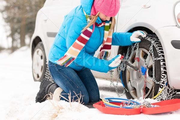 女性 チェーン 車 冬 タイヤ 雪 ストックフォト © CandyboxPhoto