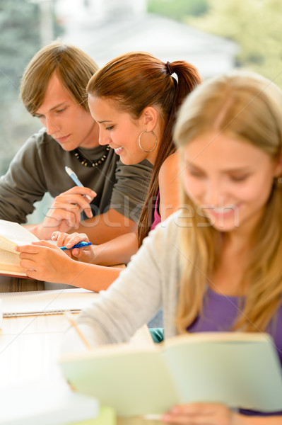 Teens study in high-school library reading student Stock photo © CandyboxPhoto
