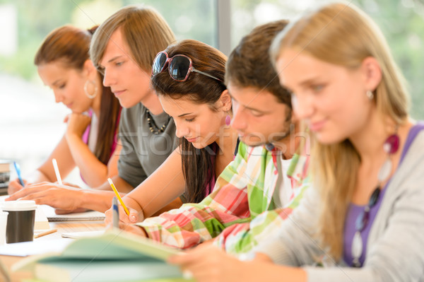 Students writing at high-school exam teens study Stock photo © CandyboxPhoto