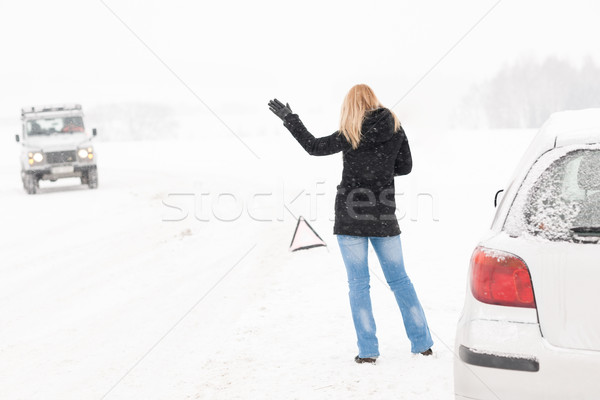 Woman hitchhiking having trouble with car snow Stock photo © CandyboxPhoto