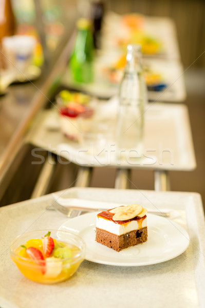 Desserts on serving tray cafeteria self service Stock photo © CandyboxPhoto