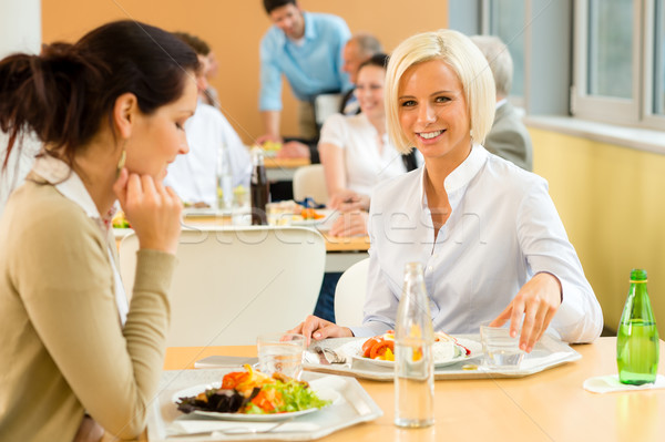 Cafeteria lunch young business woman eat salad Stock photo © CandyboxPhoto